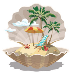 Cartoon island in seashell for a vector