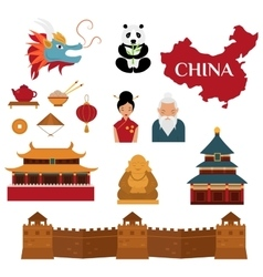 Chinese traditional culture lanterns and objects vector