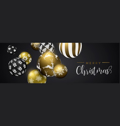 christmas gold bauble ornament web banner vector image