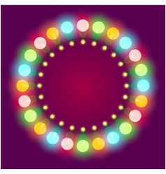 christmas or casino lights frame vector image