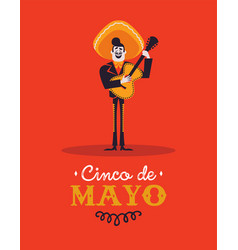 cinco de mayo card mariachi man with guitar vector image