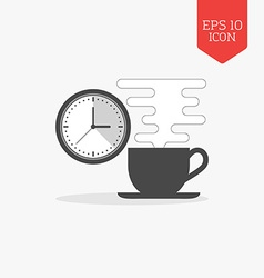 Coffee cup and clock icon Break time concept Flat vector image