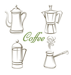 Coffee pot and sign coffee isolated vector