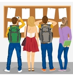 College students looking at bulletin board vector