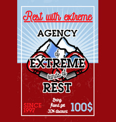 color vintage agency of extreme banner vector image