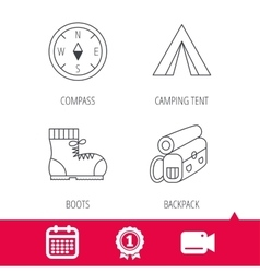 Compass camping tent and hiking boots icons vector