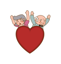 Couple elder heart symbol vector