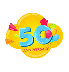 cute cartoon template 50 years anniversary vector image