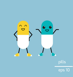 Cute pills with faces vector