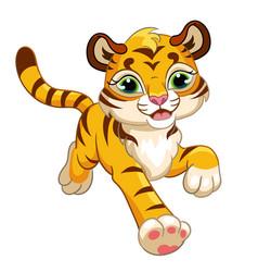 Cute running forward tiger cartoon character vector