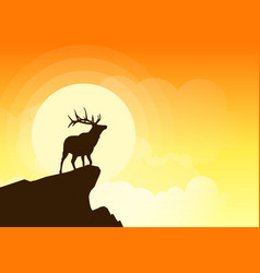 Deer silhouette on a cliff at sunset vector