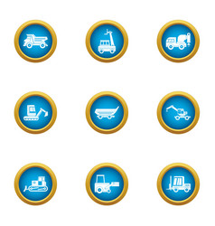 Delivery of fossil icons set flat style vector
