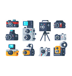 different types cameras set vector image
