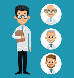 doctor professional health- faces icon vector image