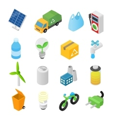 Ecology isometric 3d icons vector image