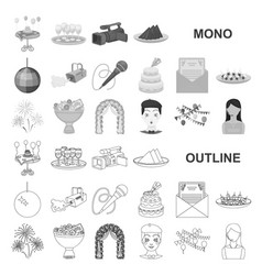 Event organisation monochrom icons in set vector