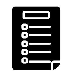 Exam paper icon in solid style for any projects vector