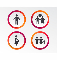Family lifetime icons couple love and pregnancy vector