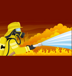 fireman in a gas mask vector image