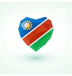 Flag of namibia in shape diamond glass heart vector