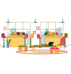 flat banner business interior spacious open office vector image