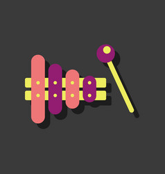 Flat icon design kids toy xylophone in sticker vector