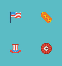 Flat icons roulette america usa hat and other vector