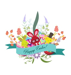 Floral easter eggs with bunny vector