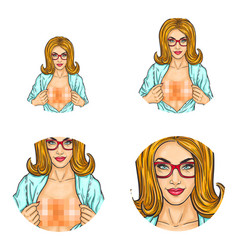Girl censored blur breast pop art avatars vector
