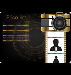 gold camera on a black background vector image