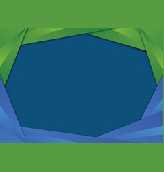 Green and blue triangle frame border vector