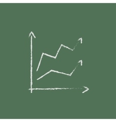 Growth graph icon drawn in chalk vector