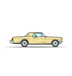 hand-drawn yellow old car vector image
