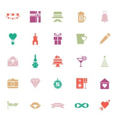 Happy anniversary flat color icons on white vector image