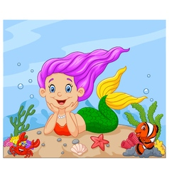 Happy little mermaid laying on the sand vector