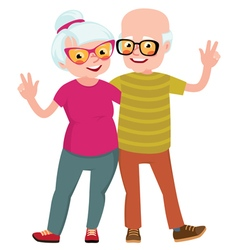 Happy seniors couple husband and wife vector image