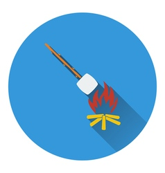 Icon of camping fire with roasting marshmallow vector image