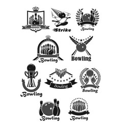 Icons set of bowling game tournament awards vector