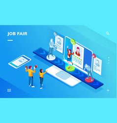 job recruit or career expo recruiting interview vector image