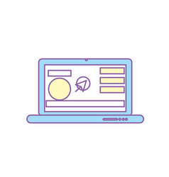 Laptop with business website and arrow cursor vector