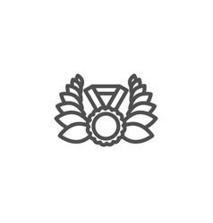 laurel wreath line icon winner medal sign vector image