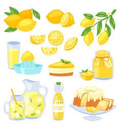 Lemon food lemony yellow citrus fruit and vector