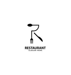 Letter r logo with fork spoon eat logo cafe vector