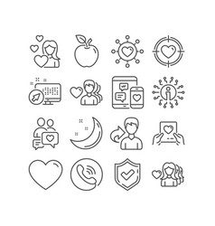 love valentine target and dating network icons vector image