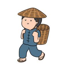 Man and wicker basket vector