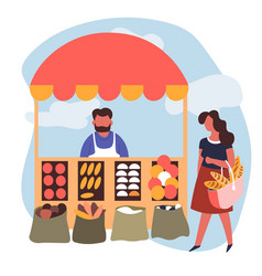 Market vegetables stall man and woman seller or vector