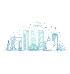 mexico city skyline on a white background vector image