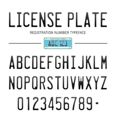 Modern License Plate font for registration numbers vector image