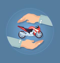 Modern motorbike insurance service company logo vector