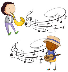 Musicians playing music with notes in background vector